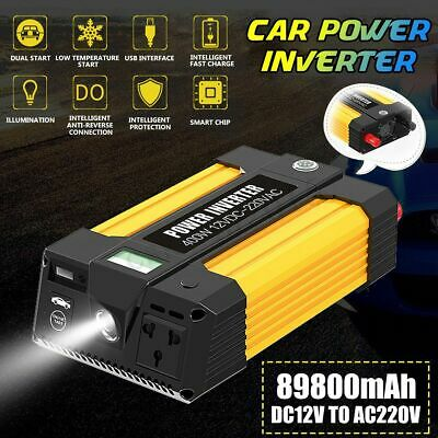 2In1 89800mAh Car Jump Starter LED SOS Booster 220V DC to AC Inverter Power Bank
