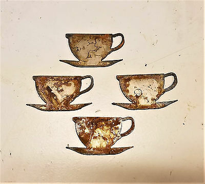 """Lot of 4 Coffee Tea Cup Saucer Shapes 3"""" Rusty Metal Vintage Craft Sign Ornament"""
