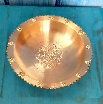 Copper Hammered Mughal Bowl Plate Serving Food Lunch Dinner with Health Benefits