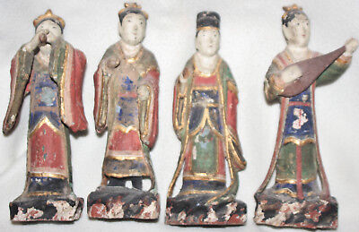 Outstanding Chinese Mid 1800s Hand Painted Set Four Matching Court Wood Figures