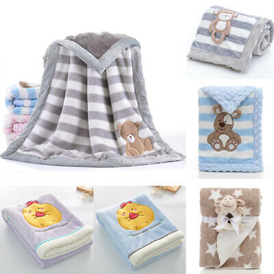 Cute Baby Kids Rabbit Flannel Blanket Bedding Quilt Play Blanket Towel Wrap