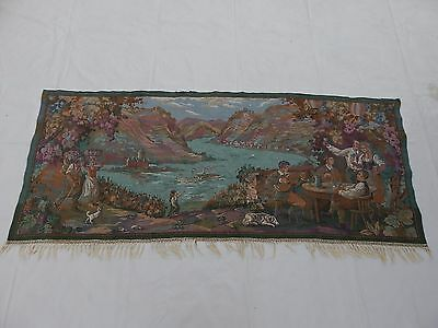 Friendly Vintage French Beautiful Scene Tapestry 67x161cm T804 Linens & Textiles (pre-1930)