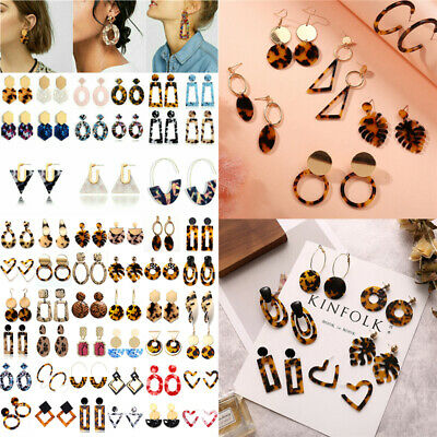 HOT Acrylic Statement Tortoise Shell Earrings Fashion Hoop Resin Dangle Earrings