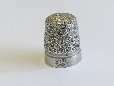Charles Horner Sterling Silver Steel cored Thimble Daisy Pattern DORCAS Size 7