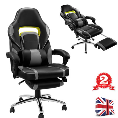 Office Chair Executive Racing Gaming Lift Swivel Faux Leather Sport Computer Uk