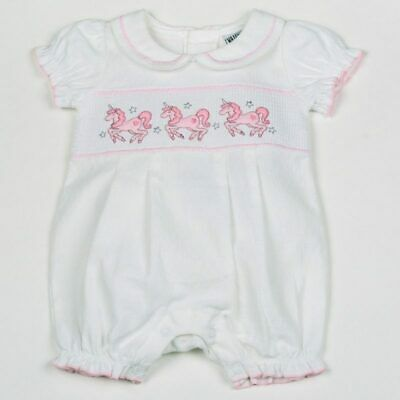 Baby Girls Adorable Spanish Style Traditional White Smocked Unicorn Romper