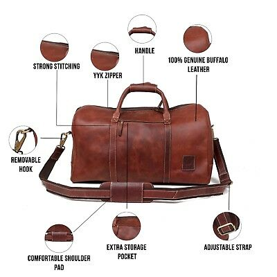 Leather Castle Genuine Vintage Men's Duffel Sports Gym, Travel, Carry-on Luggage
