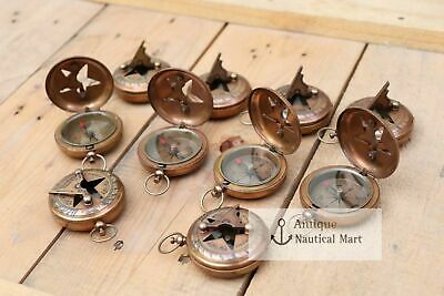 Lot Of 25 Antique Brass Sundial Push Button Compass HANDMADE STYLE SOLID GIFT