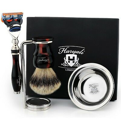 New Premium Silver Tip Brush & 5 Edge Blade Razor  Shaving Gift Set for Him