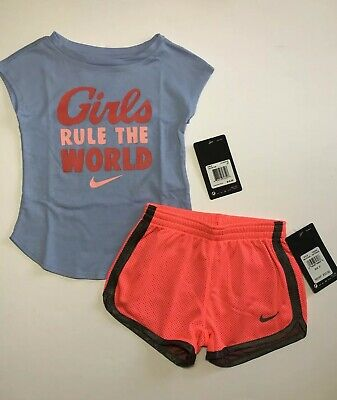 Nike Toddler Girls 2 Pc Tee Shirt & Shorts Set GIRLS RULE THE WORLD Sz 2T 4T