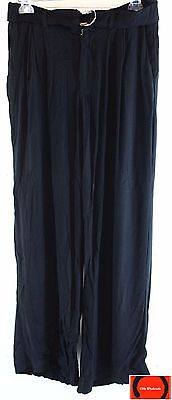 Harlowe & Graham Womens Wideleg Belted Pants Black Size S