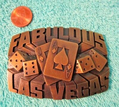 Vintage 1980 Brass Belt Buckle, FABULOUS LAS VEGAS, Indiana Metal Craft