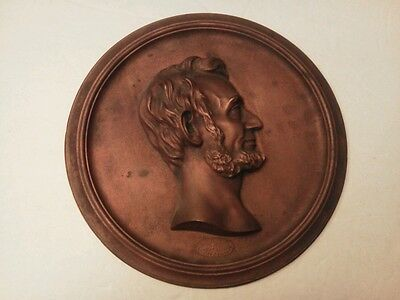 Lincoln Cast Metal Plaque Compliments of Foster Merriam Co. Merriam CT  11 1/4""