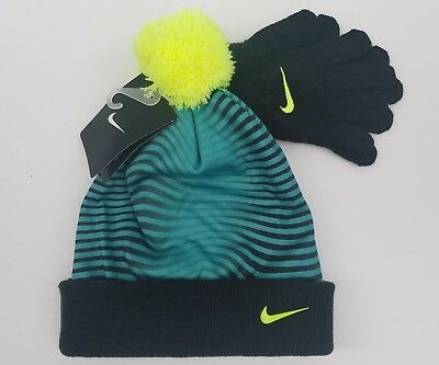 039e6a611e1 NEW NIKE BOY S Knit 2 piece Hat and Gloves Set Cuff Beanie Size ...