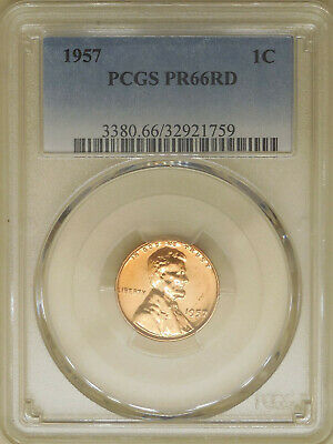 1957 PCGS PR-66-RD proof Lincoln wheat cent red gem