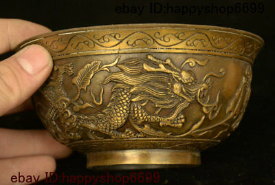 """5"""" Antique Old China Dynasty Palace Bronze Dragon Beast Bowl-like object Statue"""