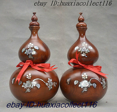 Chinese Natural Hua li Wood Inlay Shell Wealth Gourd Flower Bottle Vase Pair Set