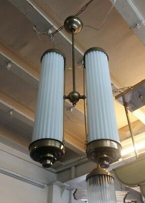 Antique Vintage Art Deco Fixture Ceiling Brass Hanging Light Milk Glass Lamp