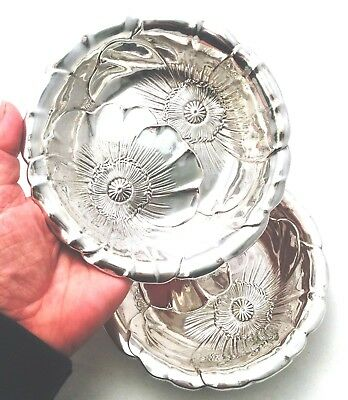 "Vintage Pair (2) Sterling Silver Poppy 6"" Dishes Serving Bowls Wallace #123"
