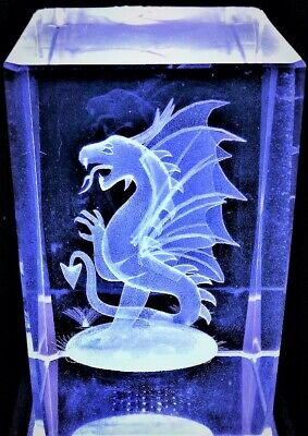 3D WESTERN MYTHICAL DRAGON CRYSTAL WINGED Laser+4 LED LIGHT BASE NEW GIFT BOXED