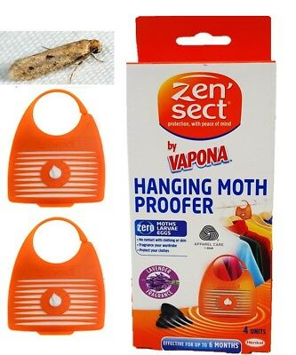 Pack of 4 Zensect Hanging Moth Repellent Protect Fabrics Lavender Scent