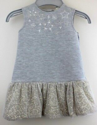Mini River Island Baby/ Toddler Party Dress 18-24 months Grey Sparkles