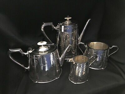Antique Edwardian Silverplate Tea Set~Barker/Ellis Style-Coffee & Tea Set-4 Pcs