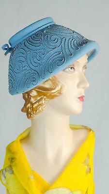 1940s Hat Small Structured Blue Wool with Soutache Embroidery Sz S #1501