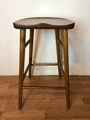 "24.5""H Mid century Modern bar Stool from Solid teak wood, with foot step"