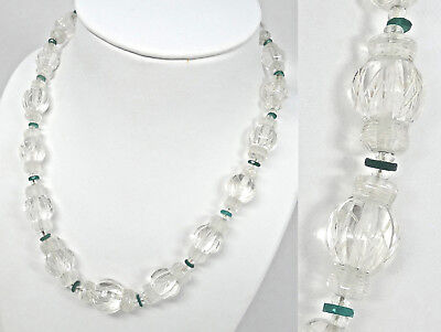 Antique Art Deco Chinese Hand Carved Rock Crystal Quartz Lantern Bead Necklace