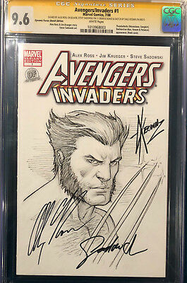 ALEX ROSS signed ORIGINAL DALE KEOWN Sketch CGC 9.6 Avengers Wolverine X-Men