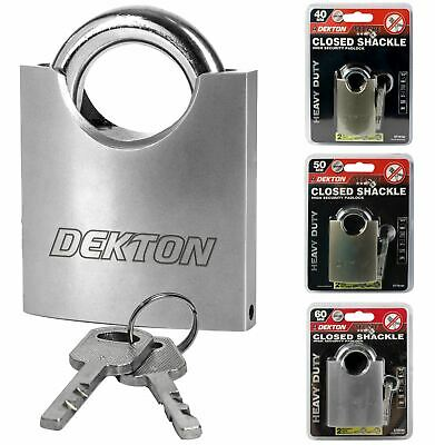 Dekton Security Padlock Steel Closed Shackle 2 Keys 40mm 50mm Or 60mm Satin Lock
