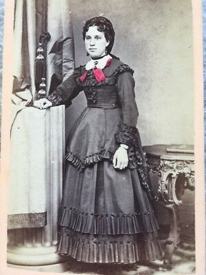 1870's Antique Cabinet Photo Tinted Pink Bow Woman Standing BETHLEHEM PA