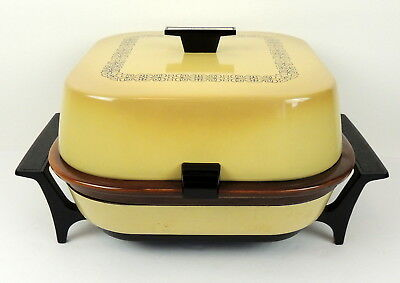 Vintage Sunbeam Electric Roaster 1250 Watts Harvest Gold With Stoneware Insert