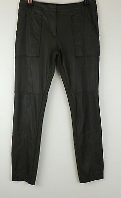3bf919104fd1d BCBGMaxazria S Connor Pants Faux Leather Skinny Stretch Cargo Legging Deep  Olive