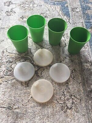 Tupperware 4 Flat Sipper Seals Sippy Bell Tumbler Cup Vintage Lids 1552 109 Cups