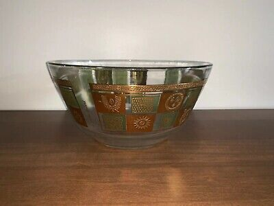 Georges Briard Mid-Century Glass Bowl Gold 1960s vintage