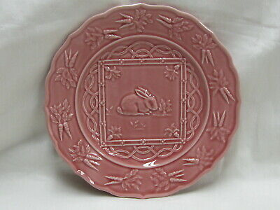 Bordallo Pinheiro Pink Pottery Plate Bunny Rabbit  - Made in Portugal -  9-1/4""