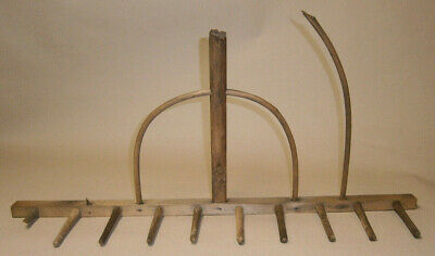Antique Primitive Wood Hay Rake Country Farm Wooden Tool Rustic Decor Rake Head