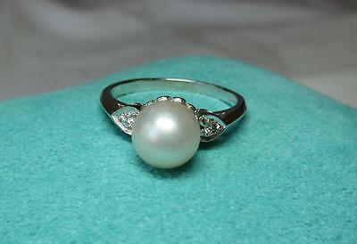 Diamond Pearl Wedding Engagement Ring Appraised Art Deco 14K White Gold