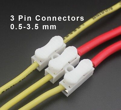 2 & 3 Way Cable / Wire Quick Splice Connector White, Push To Fit  12V - 250V
