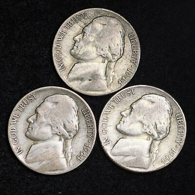 1944 P D S Jefferson Nickel Set (3 Coin Lot) Silver War Nickels Nice GOOD / VG