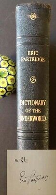 Dictionary of the Underworld British & American Signed by Eric Partridge 1st ed