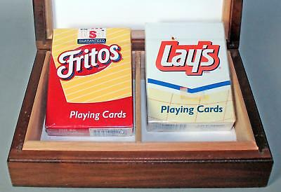 Sealed Hoyle Playing Cards Fritos & Lays in Walnut Wood Card Box