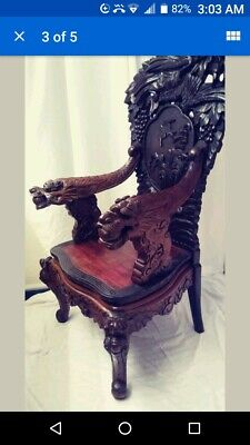LATE 19TH  CENTURY  Chinese Dragon Armchair - Hand Carved