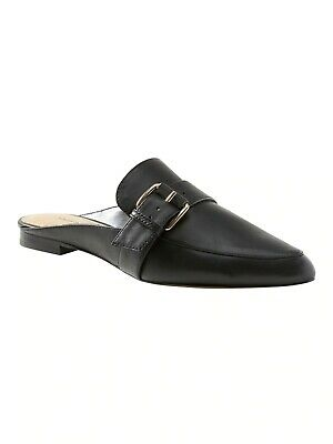 36A Leather Collection F1R0330 Ladies Black Leather Slip On Mules
