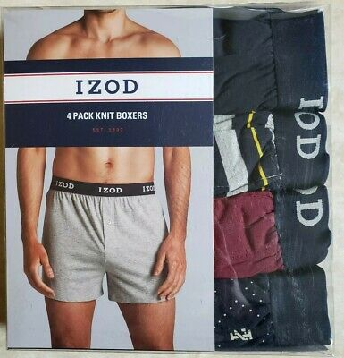 Izod Mens Cotton Knit Boxers 4-pack Blue, Striped, Logo, Maroon XL NEW