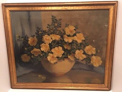 Richmond Indiana Artist Edna Stubbs Cathell Oil Painting Floral Yellow Roses