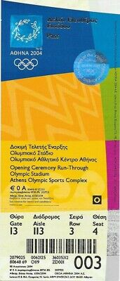 Athens 2004 Olympic Games -Opening Ceremony Run-Through  Unused Ticket.