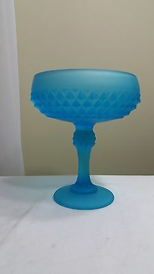 Indiana Glass Diamond Point Aqua Blue Frosted Satin Pedestal Compote Candy Dish